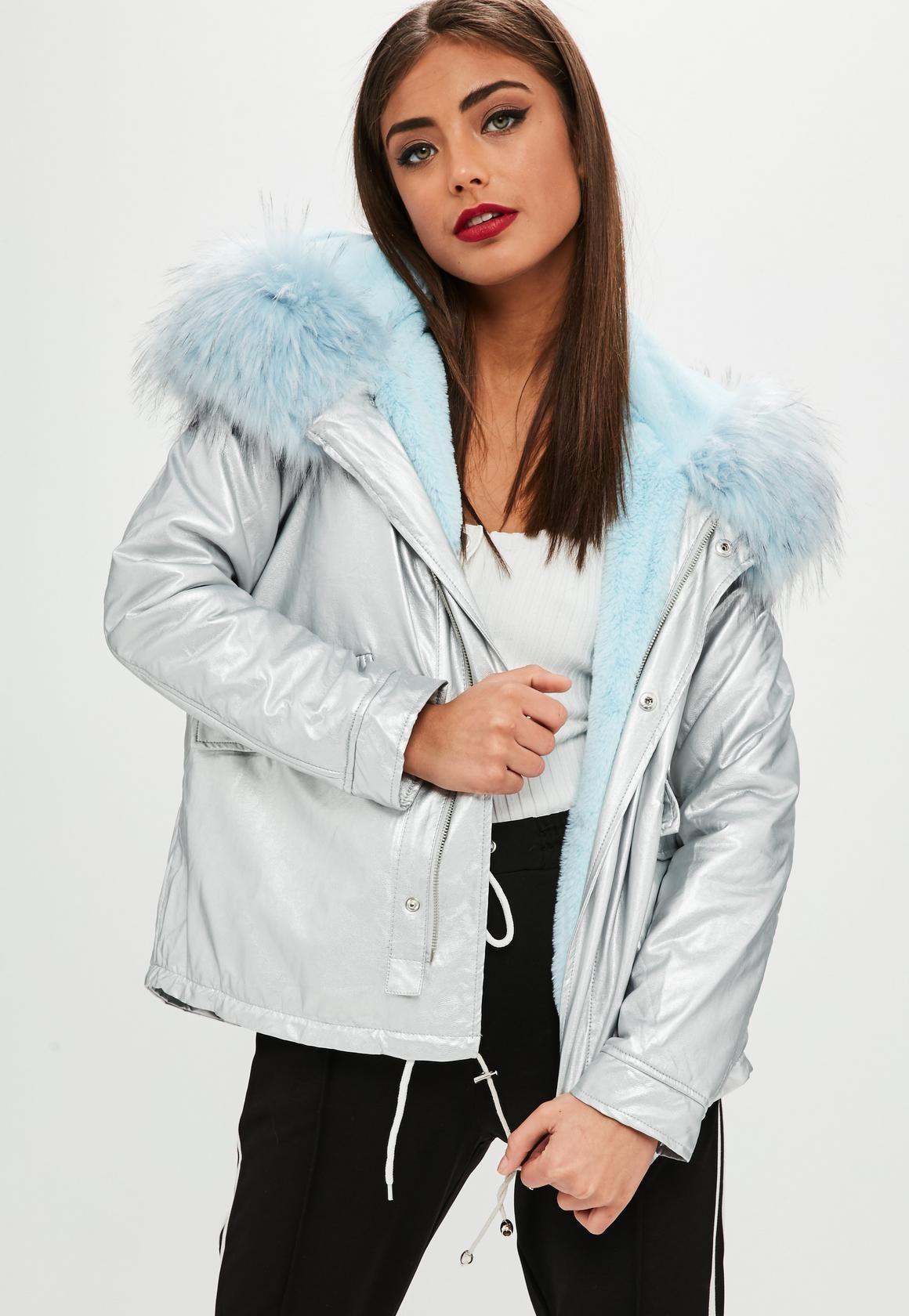 Missguided Silver Metallic Blue Fur Hooded Parka Coat