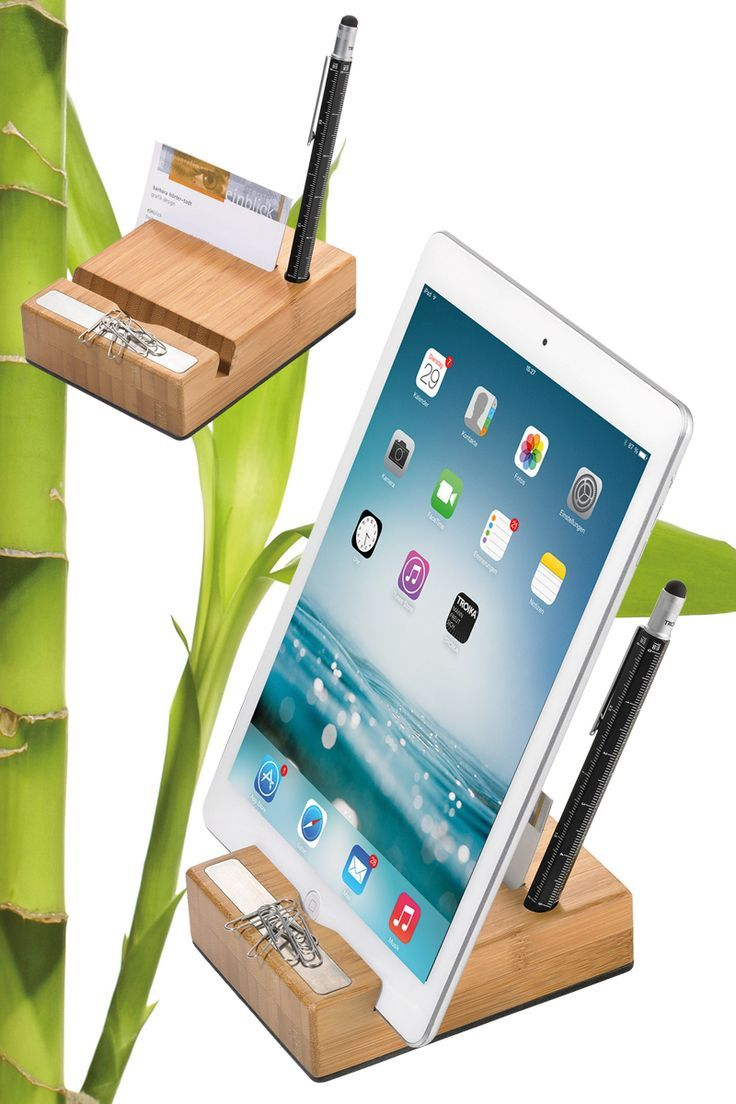 TROIKA BAMBOO STAND. Tablet stand for iPad and other tablets, bamboo ...