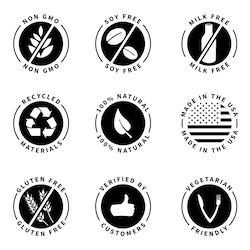 Stock Image Food And Drink Organic Milk Free Symbols Soy Free