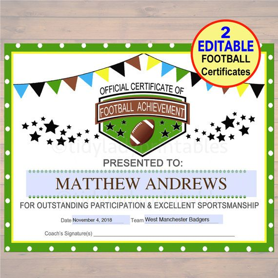 EDITABLE Football Award Certificates, INSTANT DOWNLOAD, Team - football certificate template
