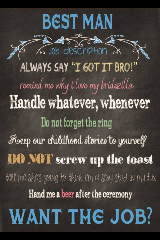 Best Man Card Printable Chalkboard Will You Be My With Job Description