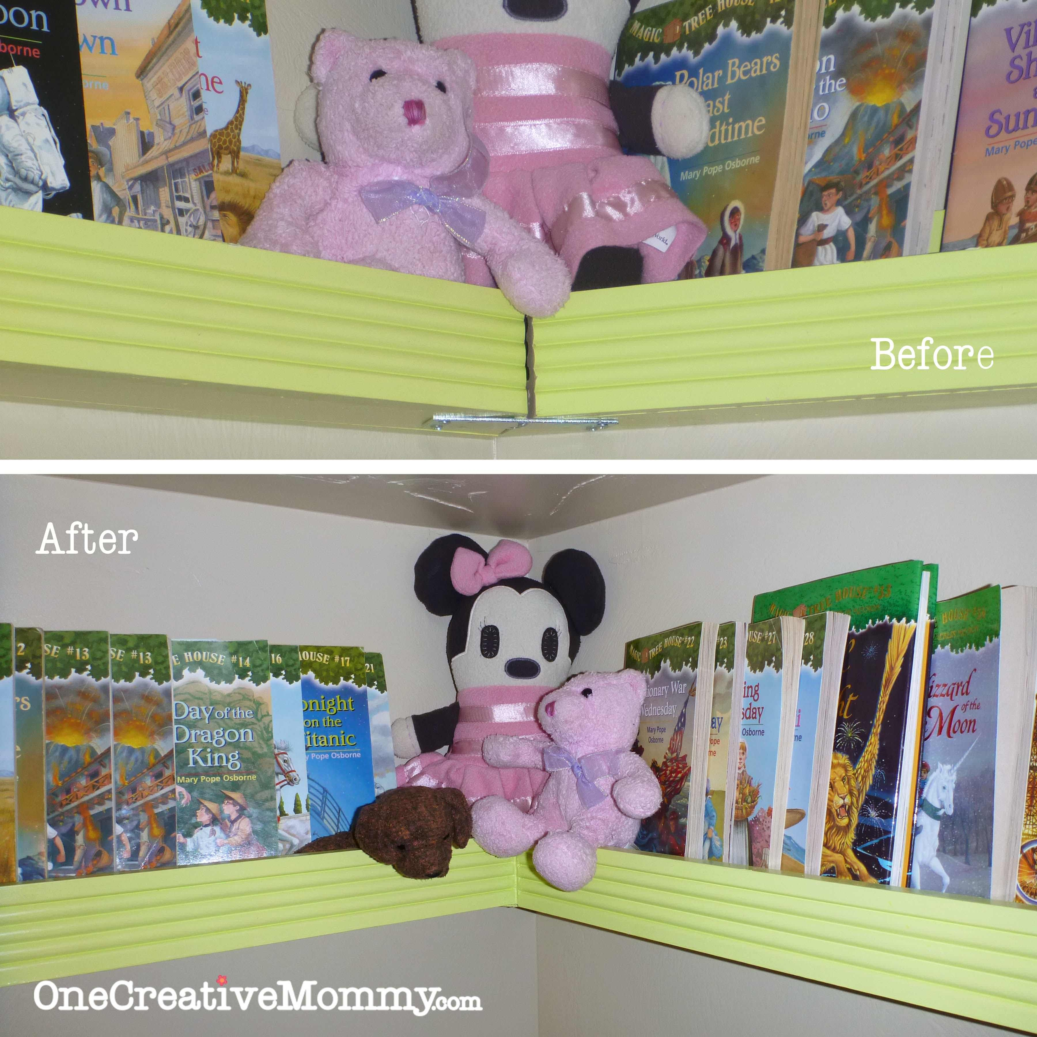 Diy Pocket Front Facing Bookshelves For Bunk Beds Onecreativemommy Keep The Books Off Floor And Right Where Kids Can Find Them