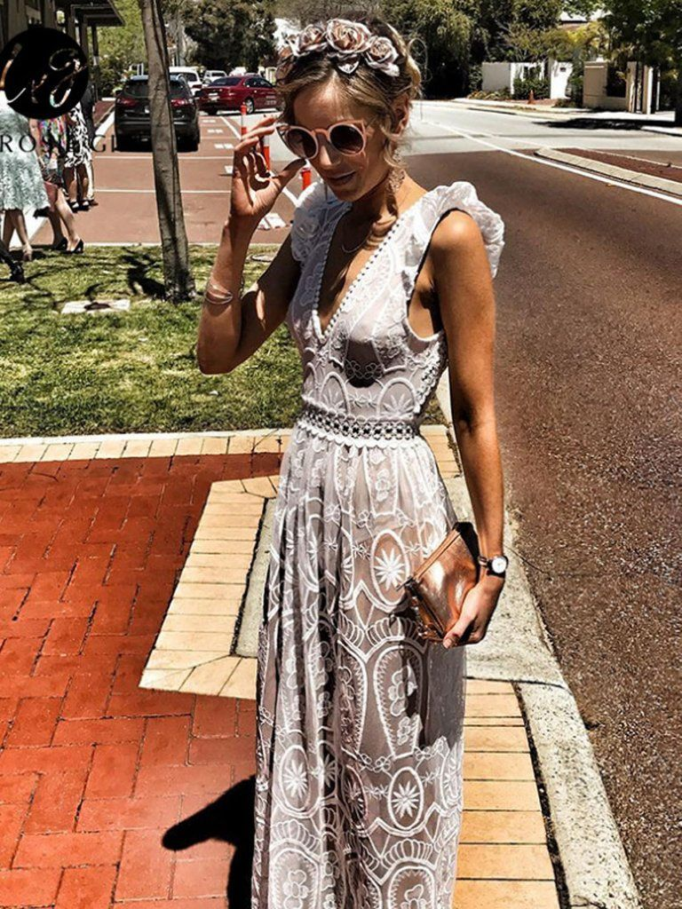 2ca11b546befca White Plunge Sheer Lace Frill Open Back Sleeveless Maxi Dress