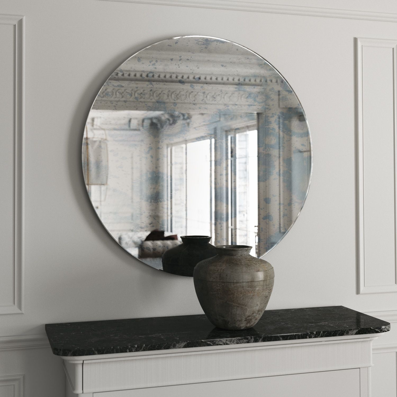 Round Frameless Blue Mirror With Interesting Blue Splattering