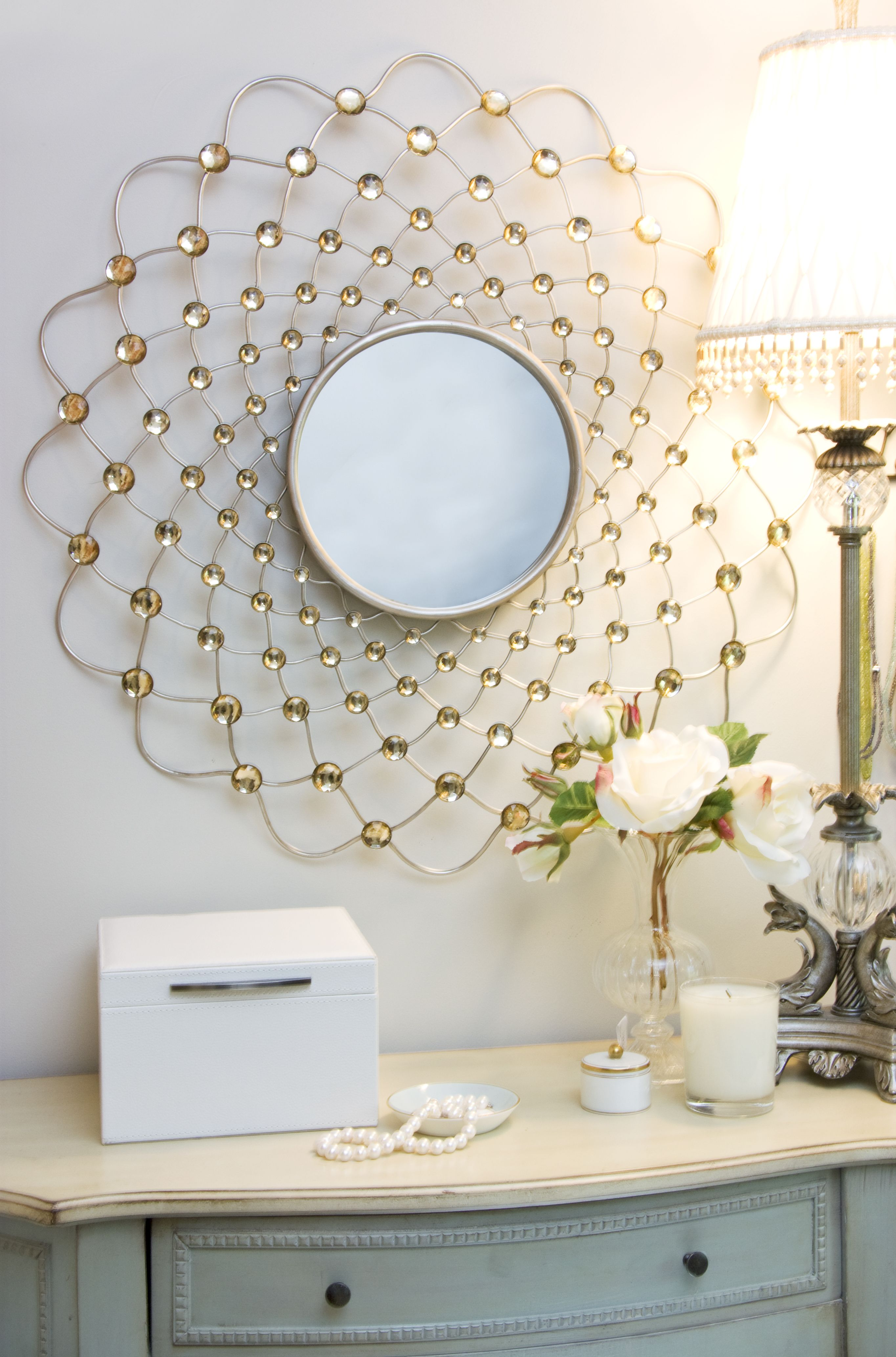 A Small Decorative Mirror Above A Dresser Adds Some Functionality For Putting Jewelry On Mirror Decor Round Mirror Bathroom Bedroom Decor