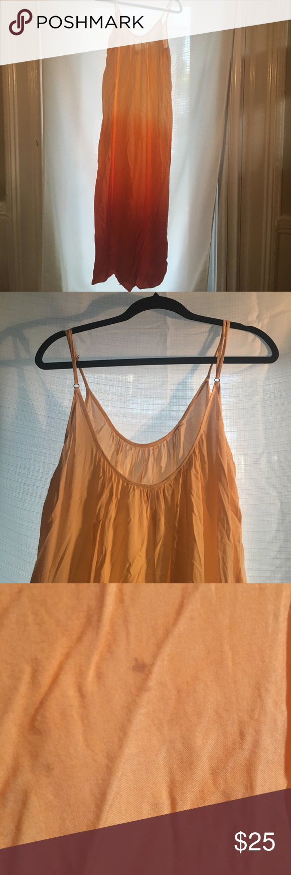 Tobi Tie Dye Low Back Maxi Dress Perfect for your stroll through your local Saturday farmers market! Orange ombré Maxi dress that fits like a flowy shift dress. Has been worn and has a very small stain that is shown in picture. ❤️Offers Welcome ❤️ Tobi Dresses Maxi