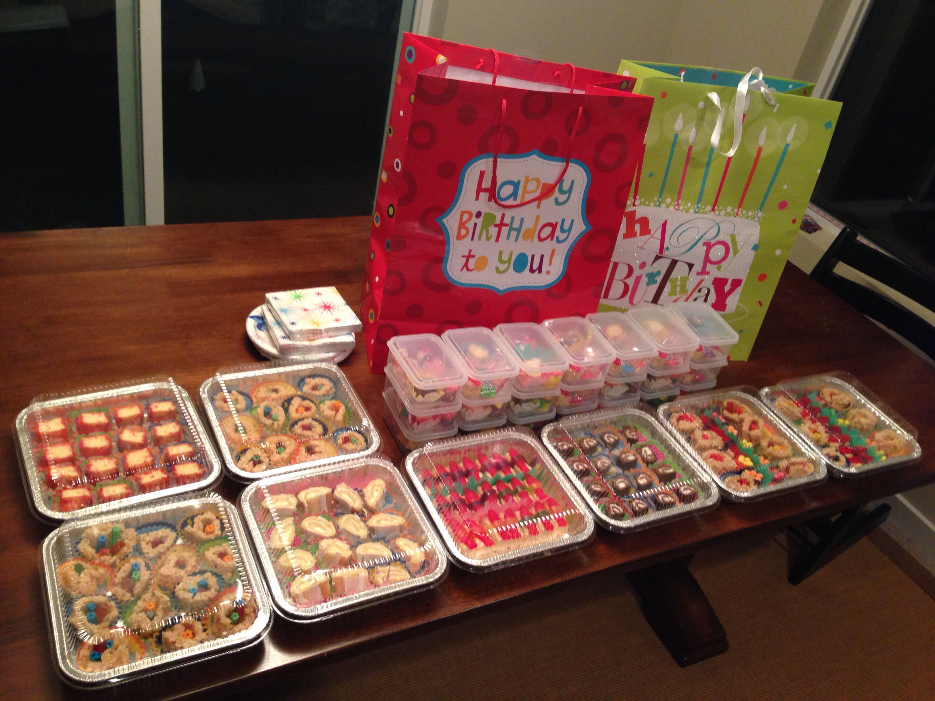 After about 3 hours of work (with two people) we made enough for an entire class. Each student gets at least one of each kind of candy sushi and their own take-out box. #candysushi After about 3 hours of work (with two people) we made enough for an entire class. Each student gets at least one of each kind of candy sushi and their own take-out box. #candysushi