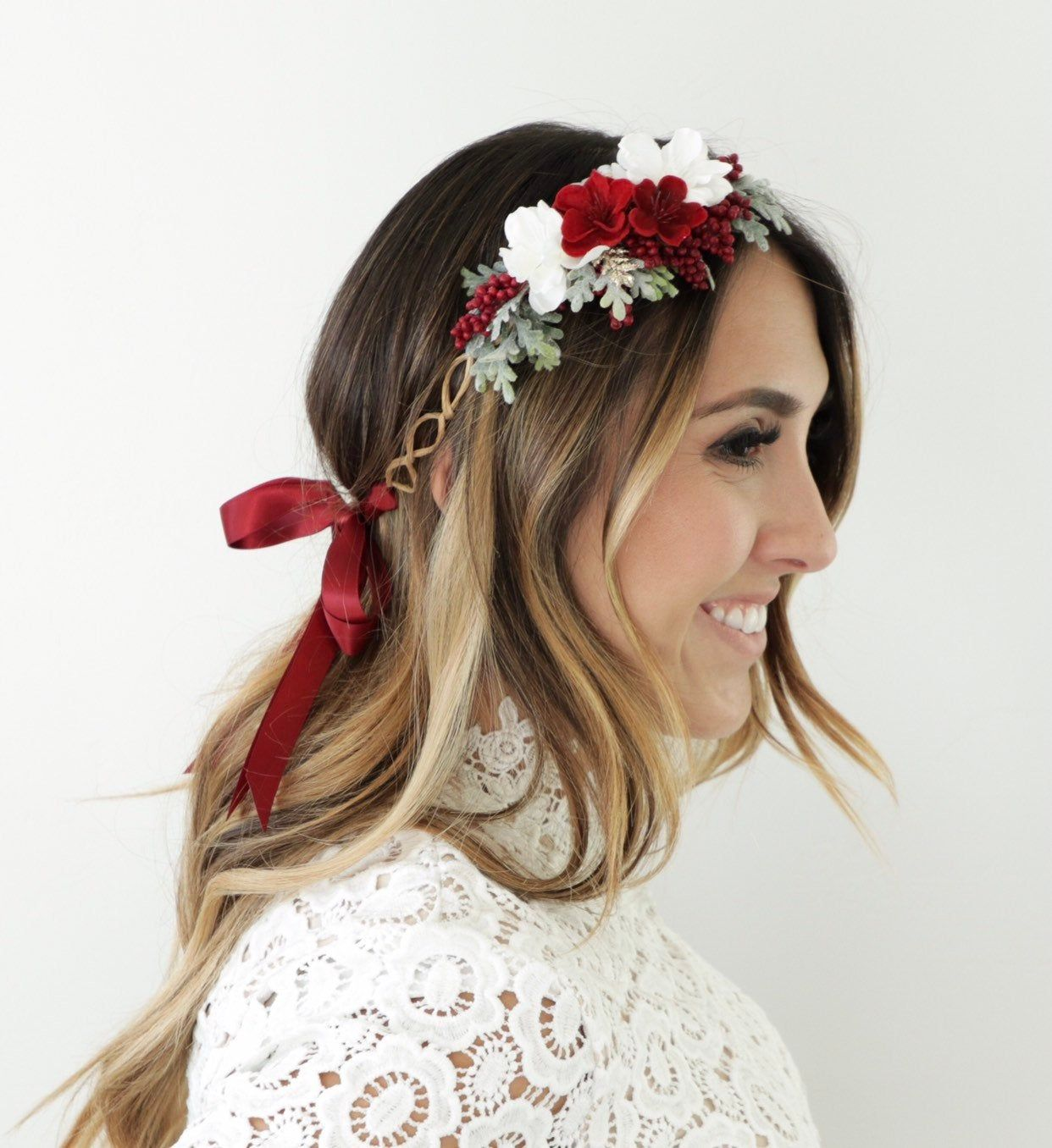 New Silk Flower Headband Crown Floral Hairbands Wedding Girls Women Bridemaid·.\
