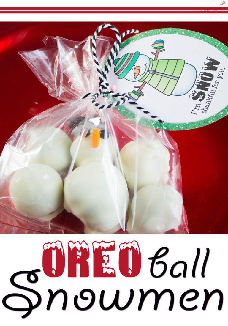 OREO Cookie Ball Snowmen Printable Christmas Tags Life Over Cs