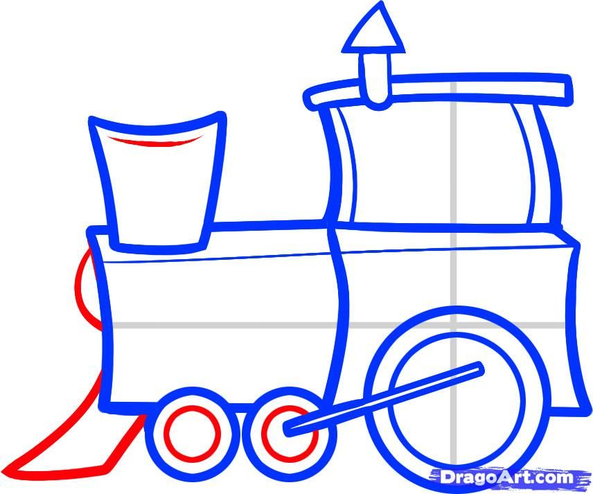 How to Draw a Train for Kids, Step by Step, Trains, Transportation ...