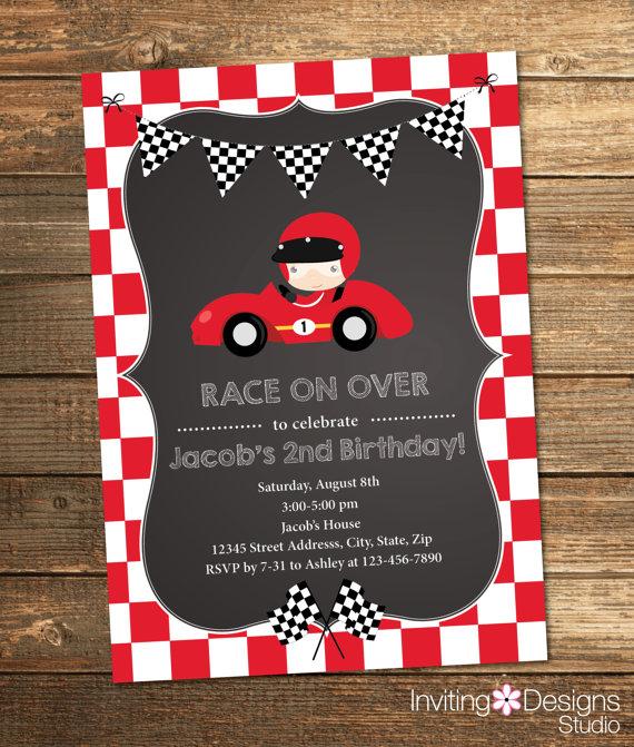 Race Car Birthday Invitation Boy Birthday By
