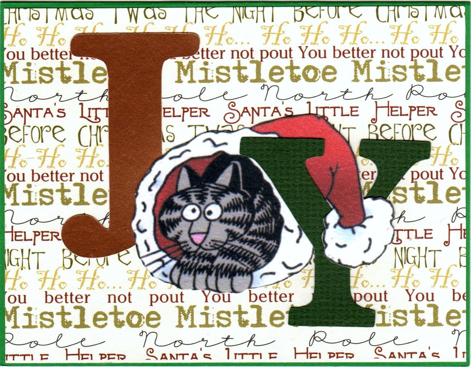 A Christmas card based on a Kliban cat in Santa hat