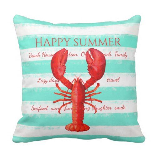 Red Lobster On Turquoise White Nautical Stripes Outdoor