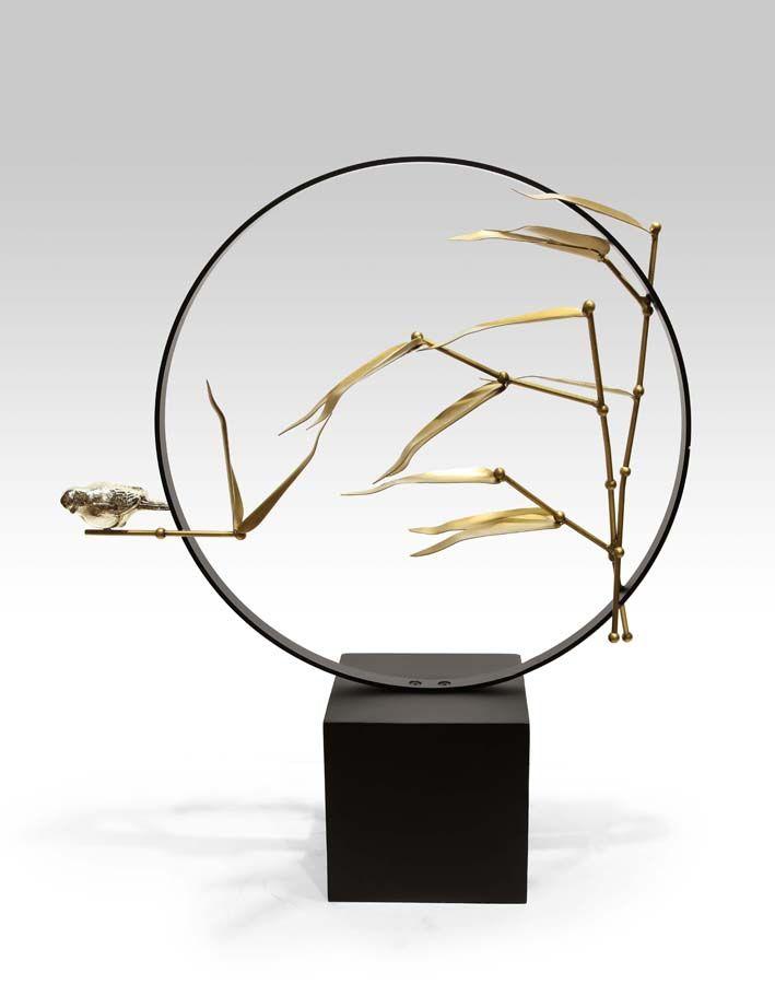 Transparent Acrylic Metal Screen Luxury Zen Style Floriculture Tea