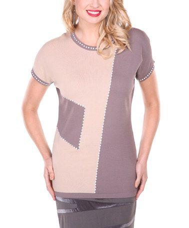Another great find on #zulily! Brown & Beige Contrast Short-Sleeve Top - Women & Plus #zulilyfinds