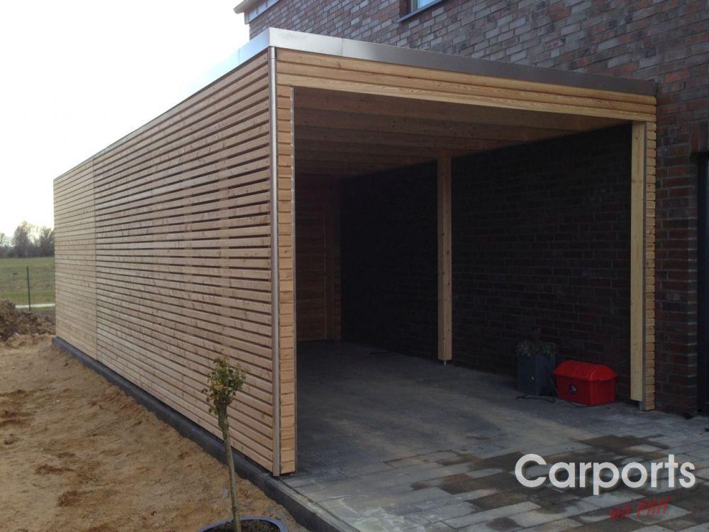 Flachdach Carport Aus Holz Fichte Mit Rhombus Wandelementen Carport Holz Uberdachung Holz Flachdach