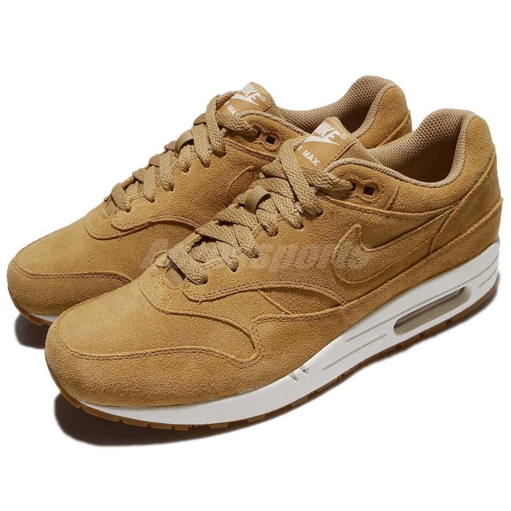 new style e13a5 4579f Nike Air Max 1 Premium Wheat Flax Gum Med Brown Men Running Shoes 875844-203   Nike  RunningCrossTraining