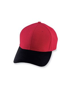 a01f10f5ea2 100% polyester athletic mesh with tricot backing  Six panels  Low profile  pro-style crown  Fused buckram-backed front panels  Matching sewn eyelets   ...