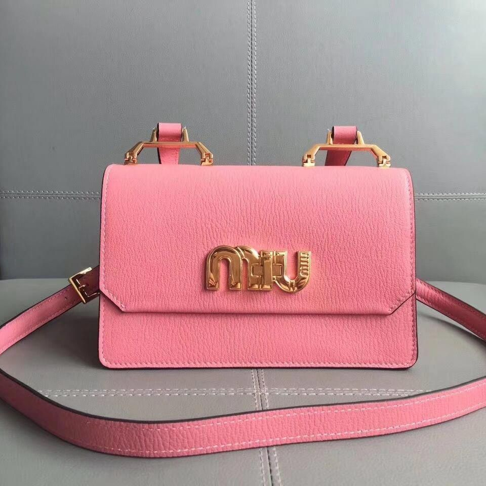Miu Miu Top Handle Bag With Miu Miu Logo Turn-Lock Clasp Hot Pink 2017 c6bbb25a24