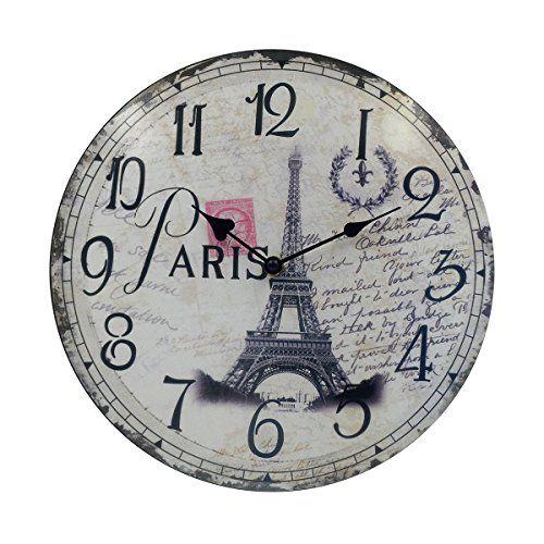 Hippih Silent Round Wall Clocks 12 Inches Living Room D Paris Room Decor Vintage Wall Clock Wall Clock