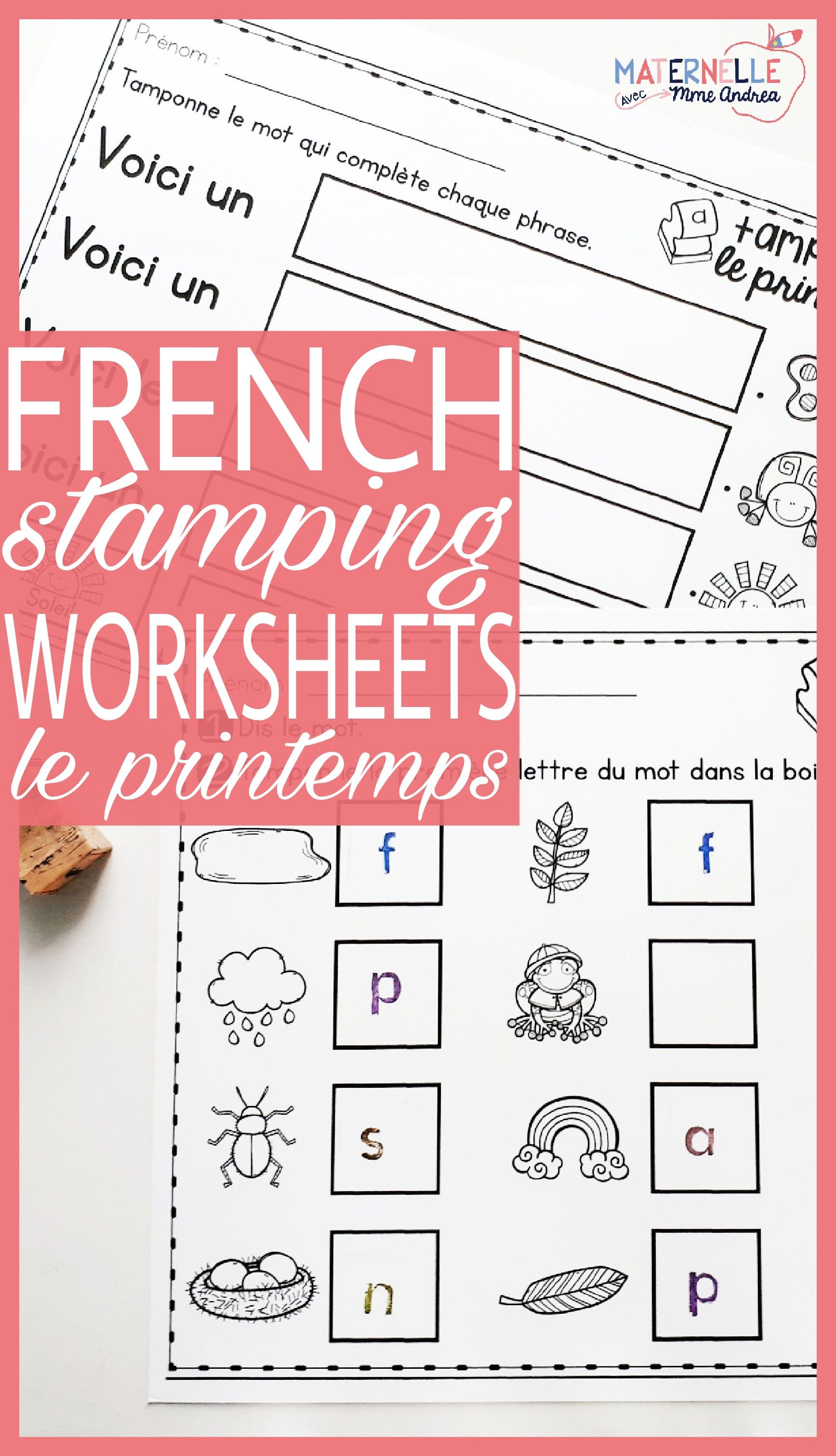 tamponner le printemps french spring stamping activities kindergarten literacy centres. Black Bedroom Furniture Sets. Home Design Ideas
