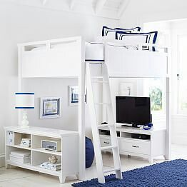 Airy White And Navy Blue Bedroom Featuring Bunk Bed With Tv Area