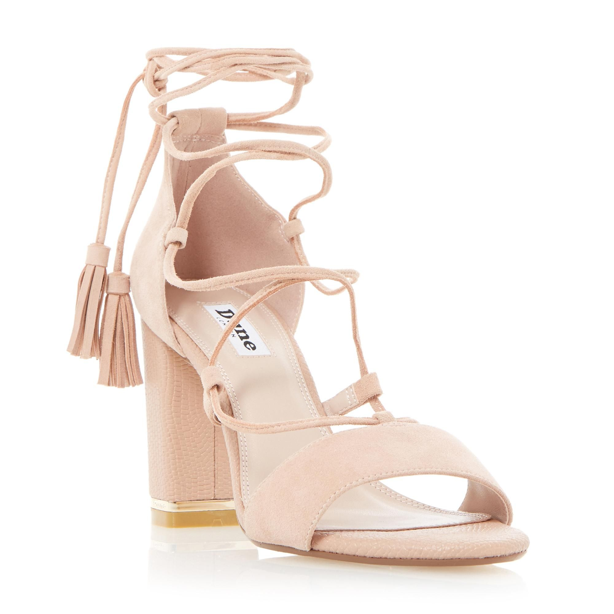 ce967bf2e124 DUNE LADIES MARGO - Ghillie Lace Up Block Heel Sandal - blush | Dune Shoes  Online