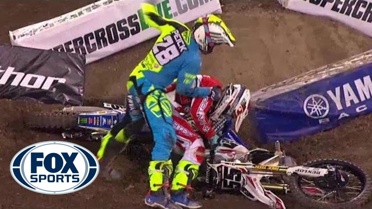 Riders fight after crash at Supercross event Supercross