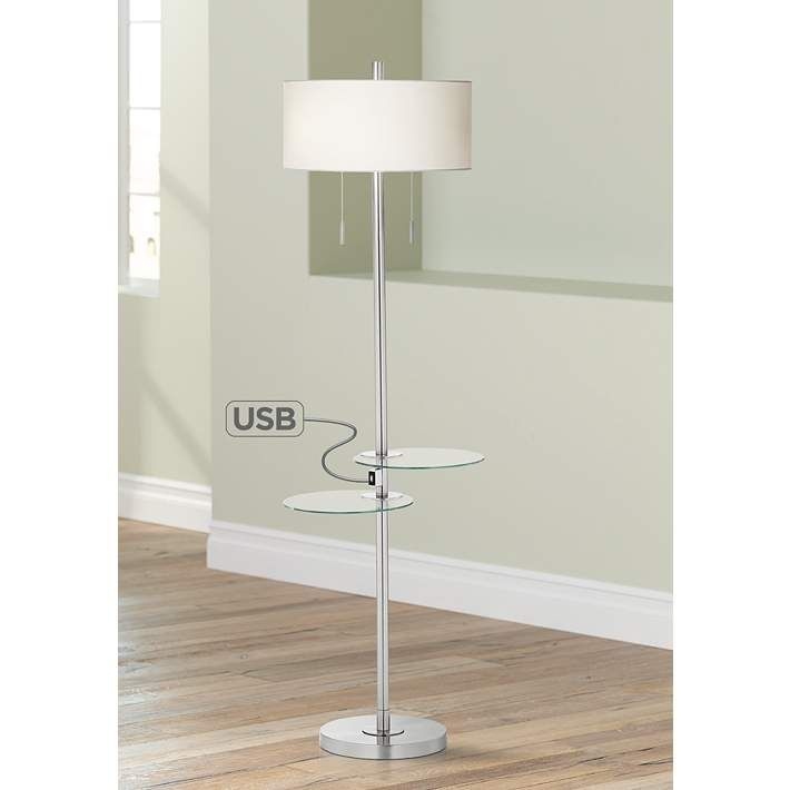 Possini Euro Concierge Double Tray Floor Lamp With Usb Style 7d093