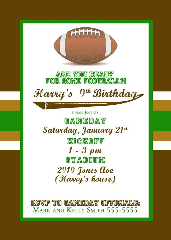1000 images about A Bs Birthday Football is the Theme on – Free Printable Football Birthday Invitations