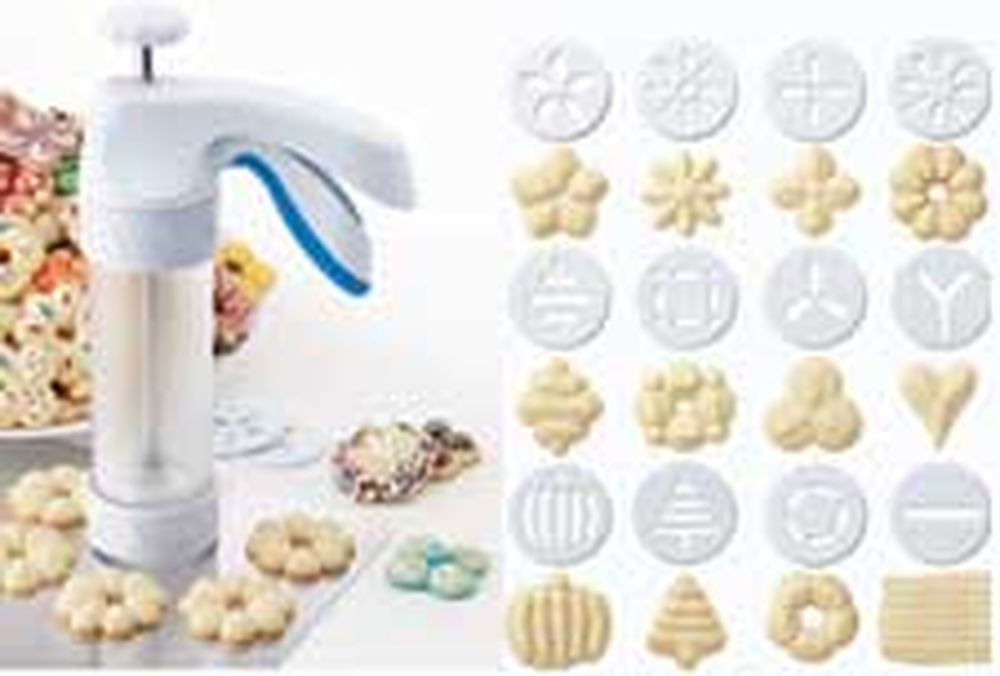 <p>The Ergonomic Comfort Grip Cookie Press from Wilton makes perfectly shaped spritz cookies easy to make with its easy-squeeze, ergonomic handle.</p> <ul>   <li>Makes perfectly shaped spritz cookies</li>   <li>Fluted bottom helps eliminate mishapen cookies as you press</li>   <li>Includes 12 discs to make wide variety of cookies</li> </ul> <p>You never have to wonder if you need more dough because you can see how much dough you have, thanks to the clear barrel. The fluted bottom raises the…