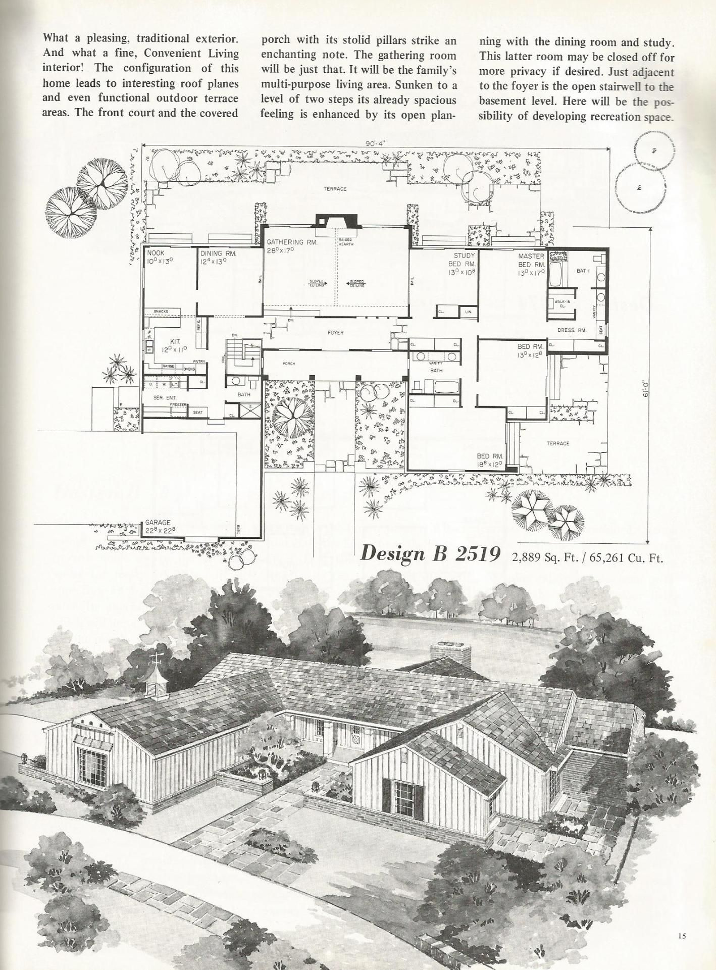Vintage House Plans Mid Century Homes U Shaped Houses