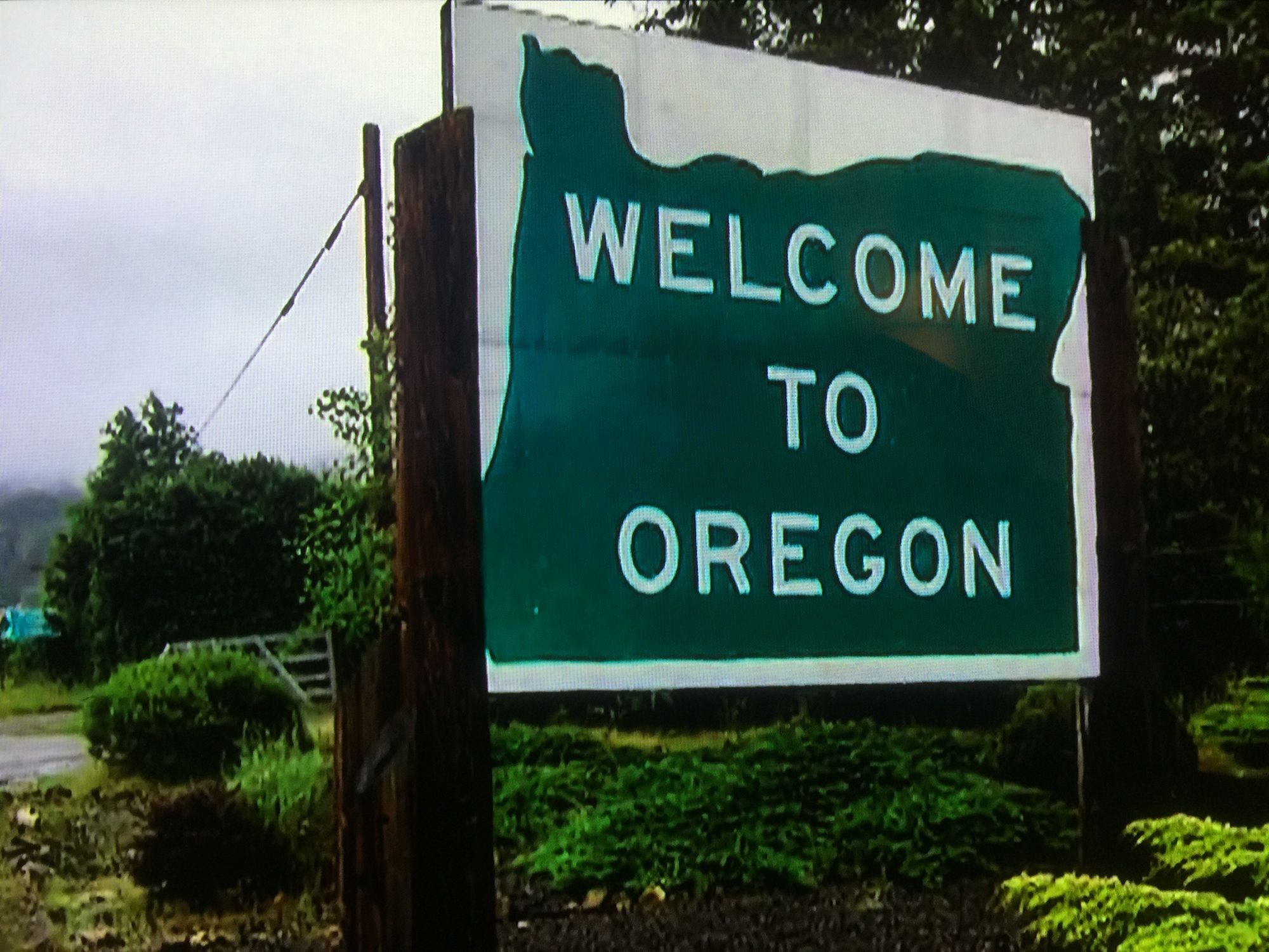 The Oregon - California border along Interstate 101