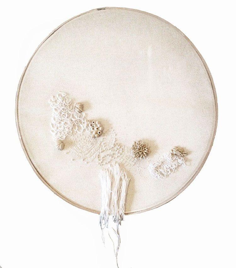 Maria Solorzano Pin: Ballena blanca III, 2015 Cotton, brass, clay Ø 40 cm Sutilezas - Jewelers from Argentina.  © By the author. Read    Klimt02.net Copyright   .