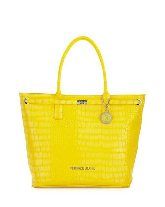 f8aa3ea5a Large+Crocodile-Embossed+Tote+Bag,+Yellow+by+Versace+Jeans+at+Neiman+Marcus+ Last+Call.