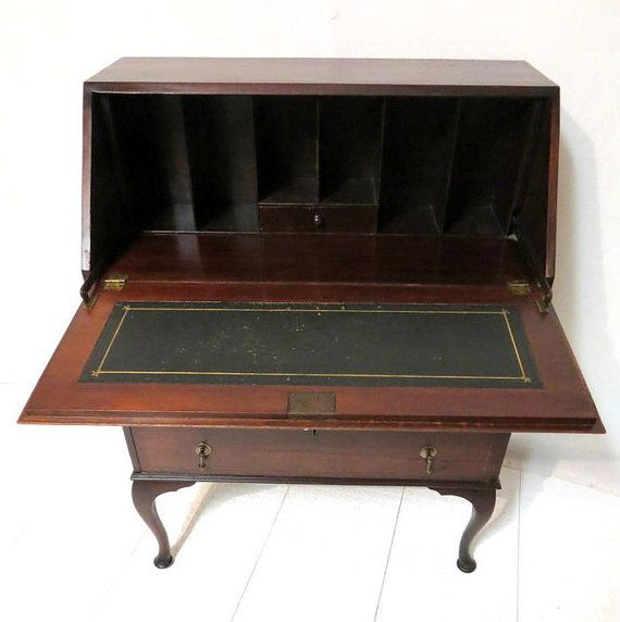 antique inlaid mahogany drop front desk secretary dresser chest of drawers bureau queen anne legs with