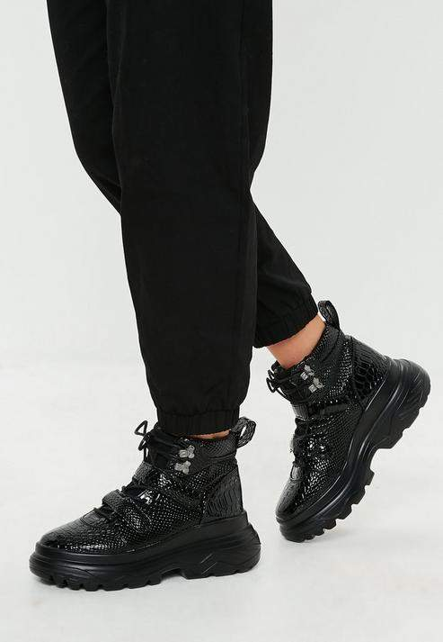 Missguided Black Double Sole Hiking Strap Sneakers | Women