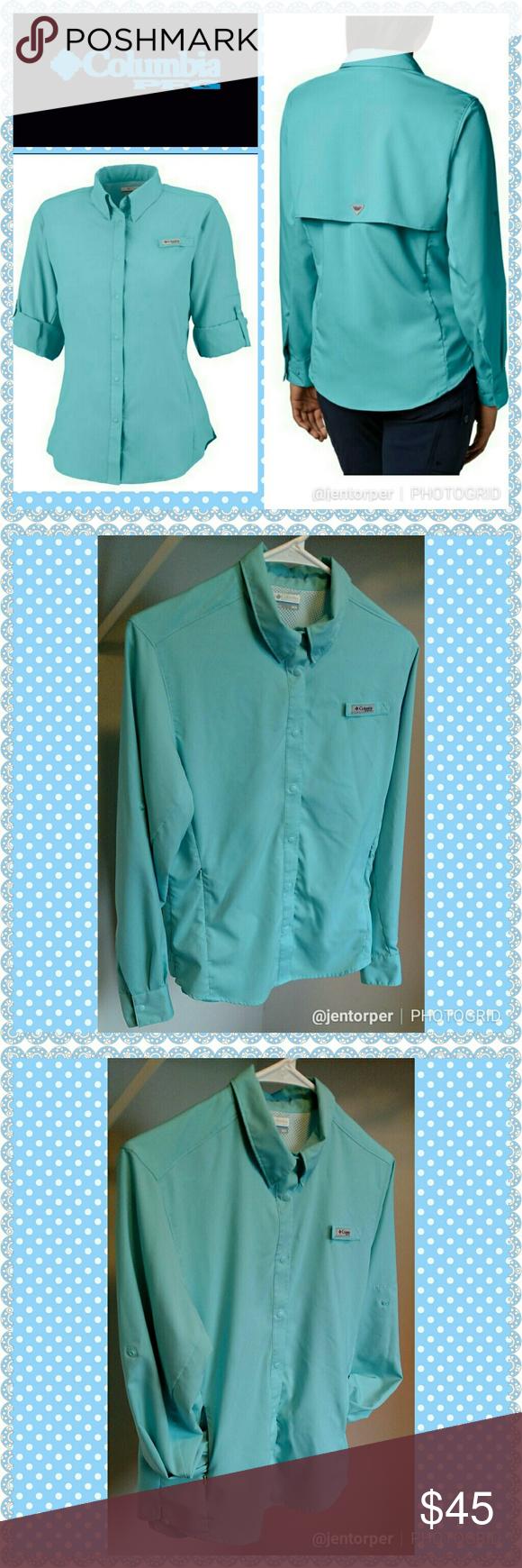Columbia PFG Mens Small Tamiami ll Blue Roll Up Long Sleeve Button Shirt NWT