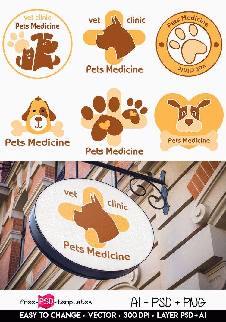 Free Vector Vet Medicine Logo Set Download This Qualitative Free Vector Vet Medicine Logo Set For The Best Themed Graphic Medicine Logo Logo Set Free Logo Psd