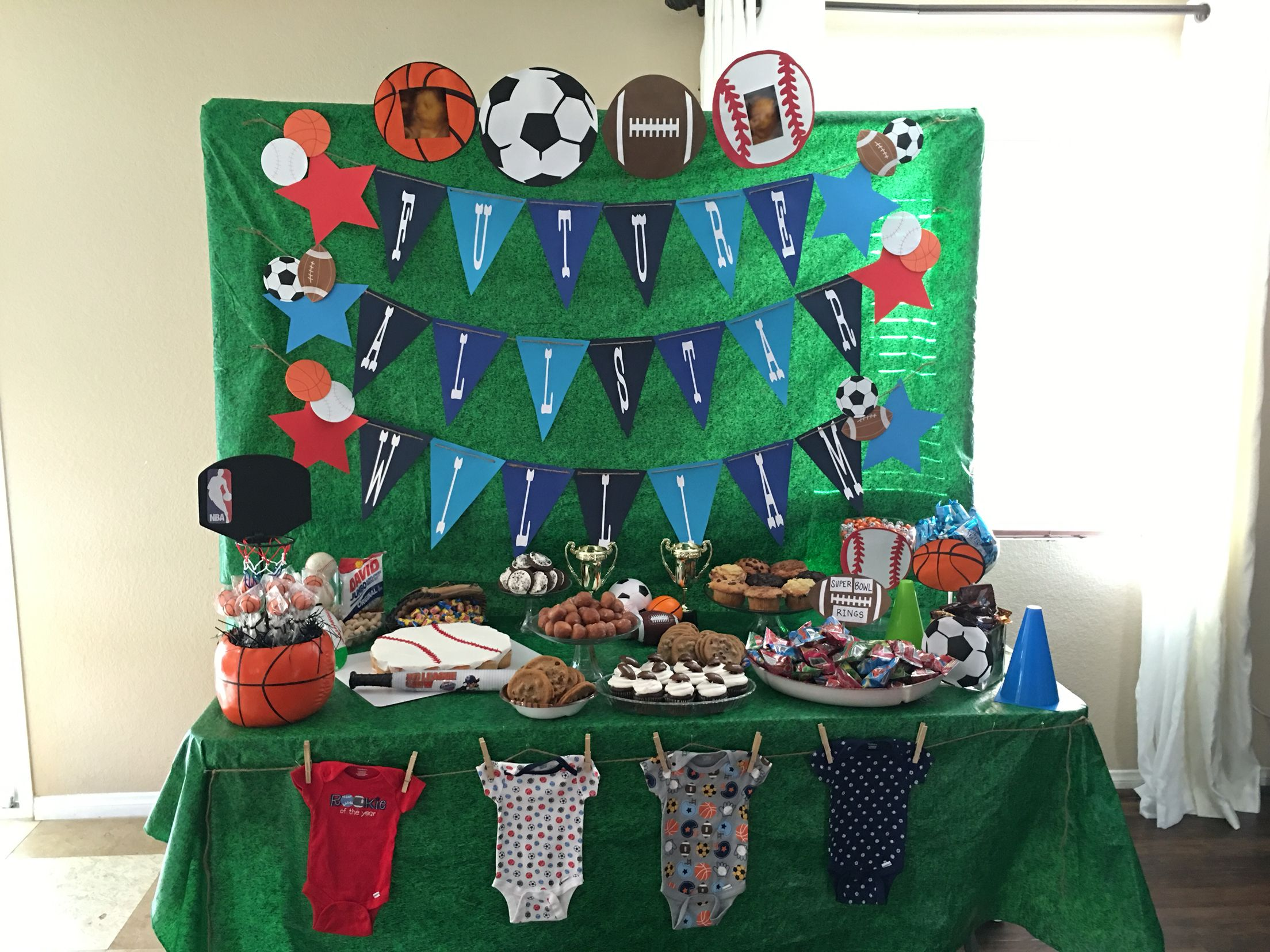 3cb82c9c6769a Sports theme baby shower Future All-Star desert / candy table ...