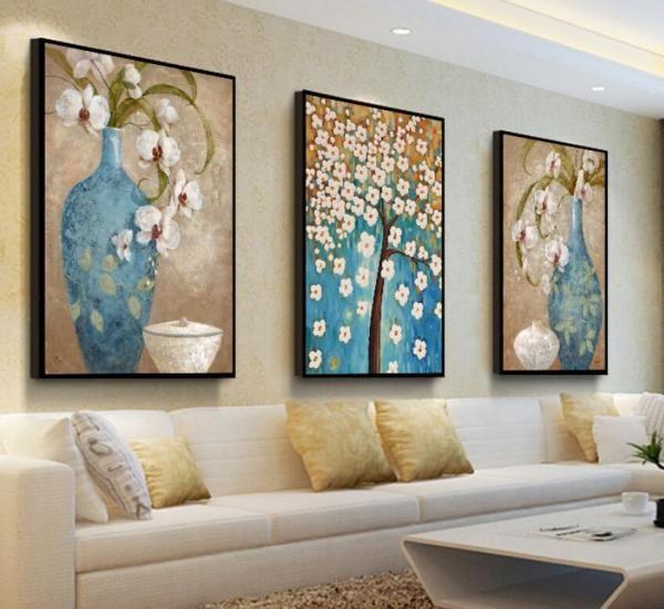 Vasi azzurri fiori bianchi nel 2020 Dipinti moderni