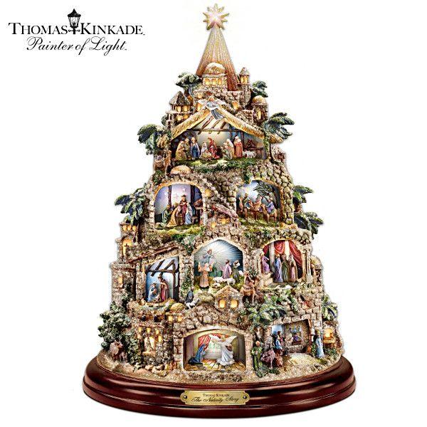 Thomas Kinkade The Nativity Tree Tabletop Centerpiece Christmas