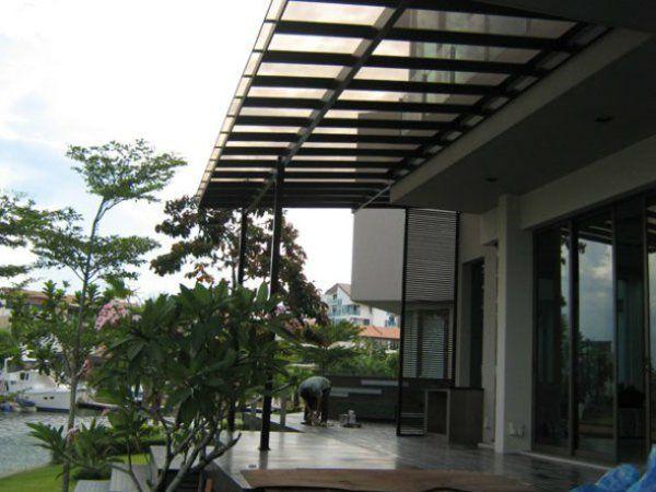 pergola markise outdoor Überdachte Terrasse modern holz glas - terrassengestaltung mit wasserbecken