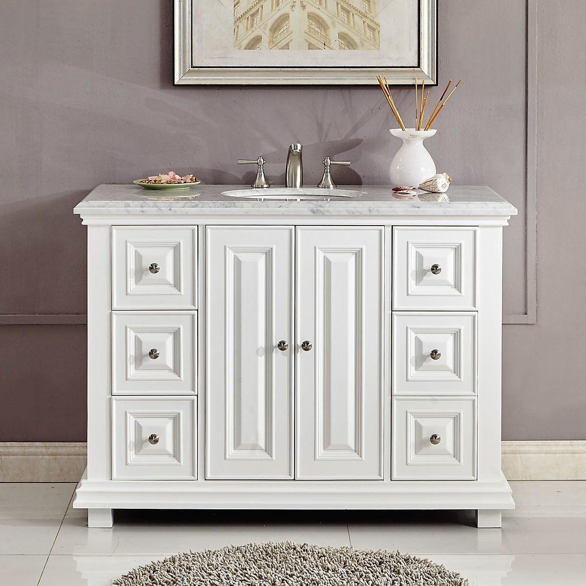 Silkroad exclusive transitional bathroom vanity single sink