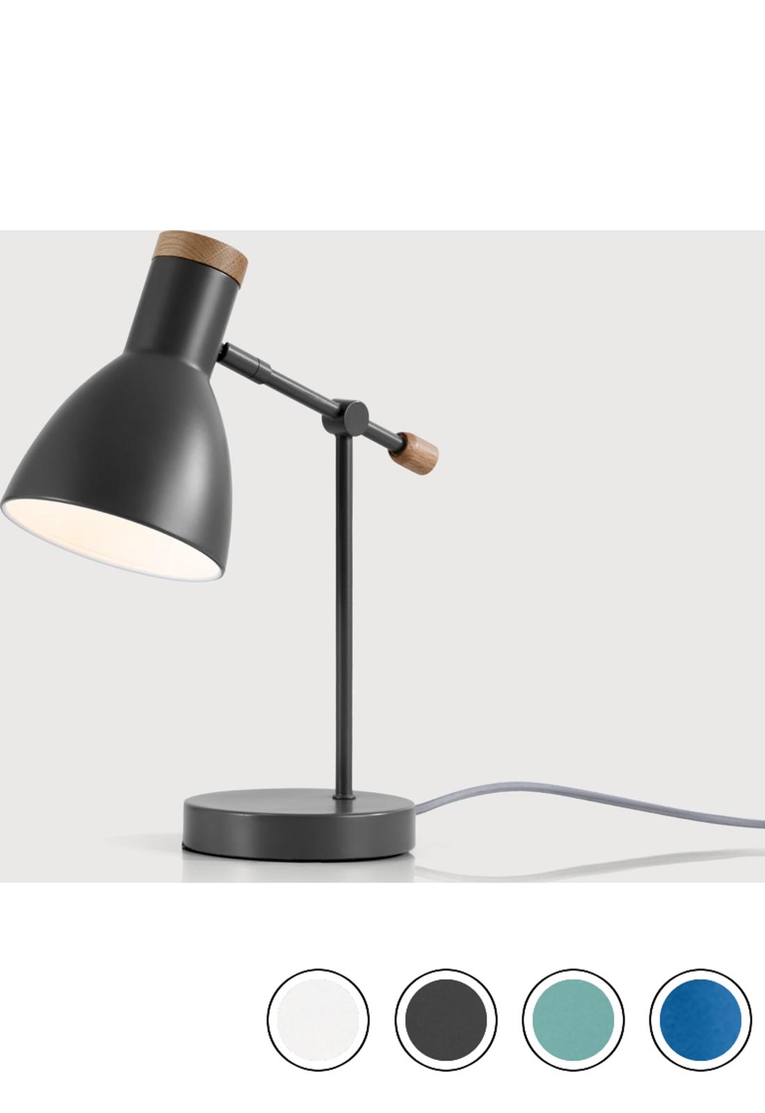Light Grey Bedside Table: MADE Deep Grey & American Oak Table Lamp