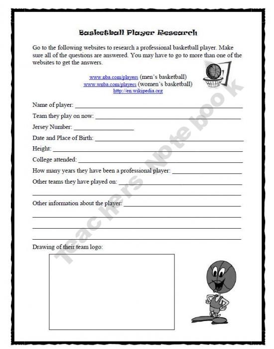 Basketball Player Research Worksheet | 6th-8th Grade | Pinterest ...