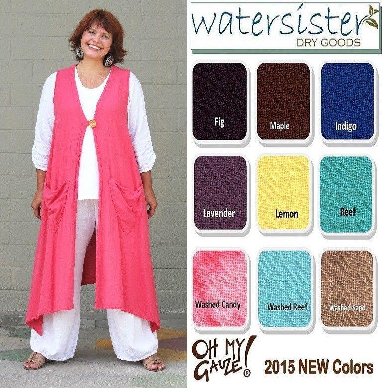 OH MY GAUZE  Cotton  ASPEN  Vest Long Duster Top  OS+  L/XL/1X/2X/3X 2015 COLORS #OHMYGAUZE #DusterVestTop #Versatile
