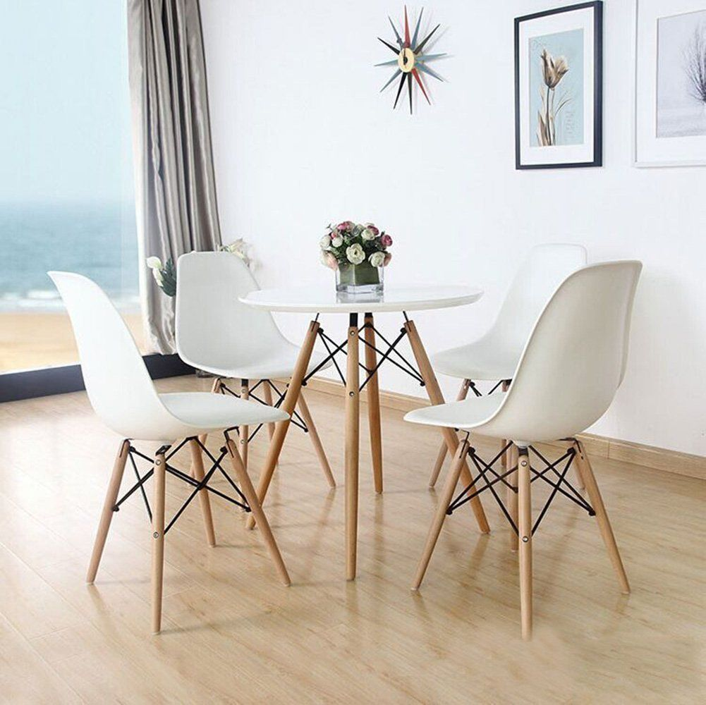 Eames Style White + Wood Modern Chairs Side chairs