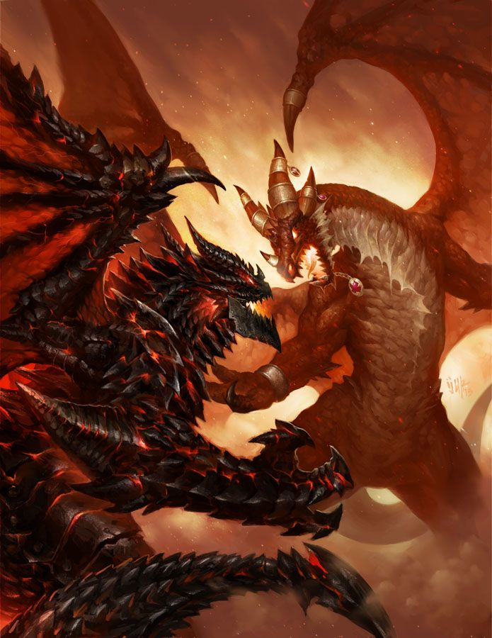 concept art fighting dragons, dramatic closeup illustration of a fiery battle