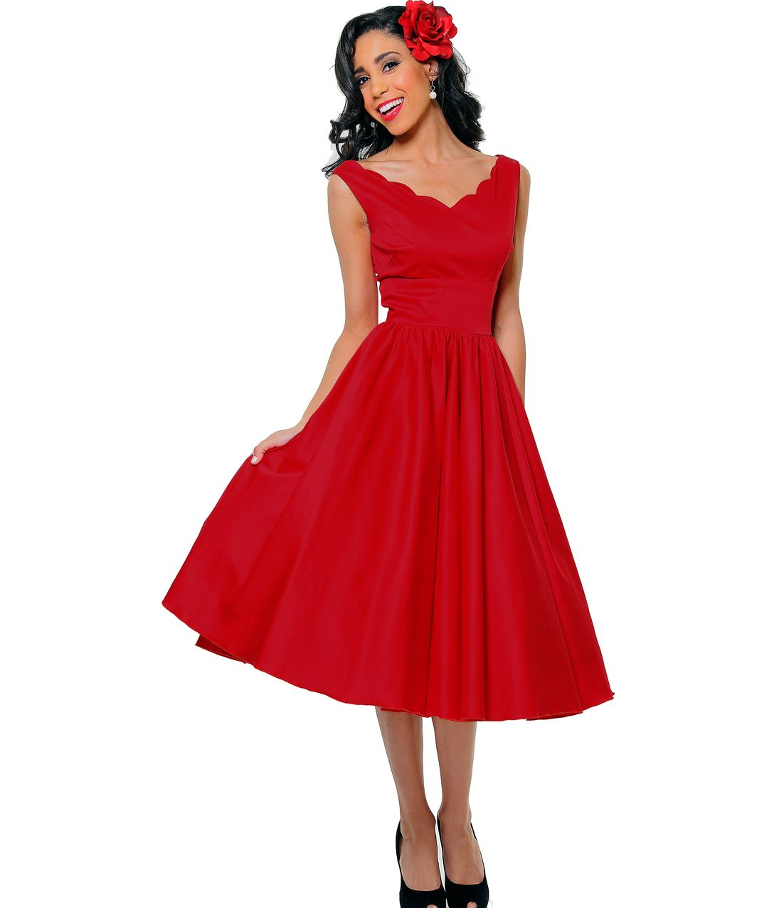 Queen of heartz 1950 39 s style red cotton sateen scallop for Wedding dresses pin up style